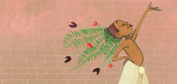 Image is part of an illustration, showing a black child wearing a headdress made of ferns and a town tied around their waist, with a hand in the air, smiling.