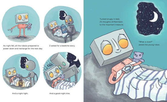 "Two pages from Love, Z, in which the robot goes through his nightly bedtime routine, wondering ""What is love?"""