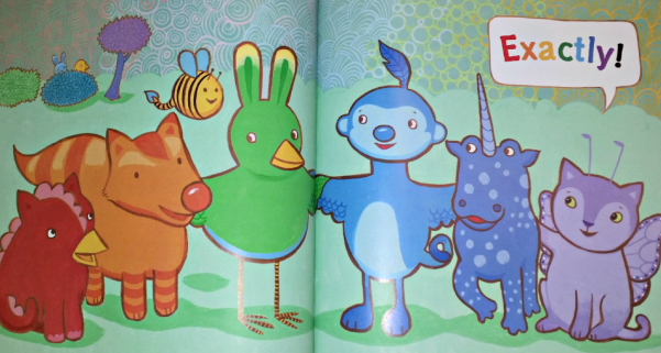 "Image is an illustration of a rainbow of chimera animals, all holding each other, and looking happy. A speech balloon reads ""exactly!"" in rainbow letters."
