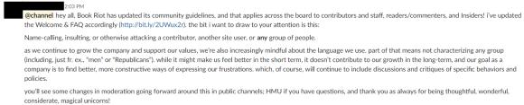 Screencap of a post made in the BRI slack, noteworthy content described below.