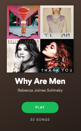 """A screencap of a Spotify playlist entitled """"Why Are Men,"""" created by user Rebecca Joines Schinsky."""