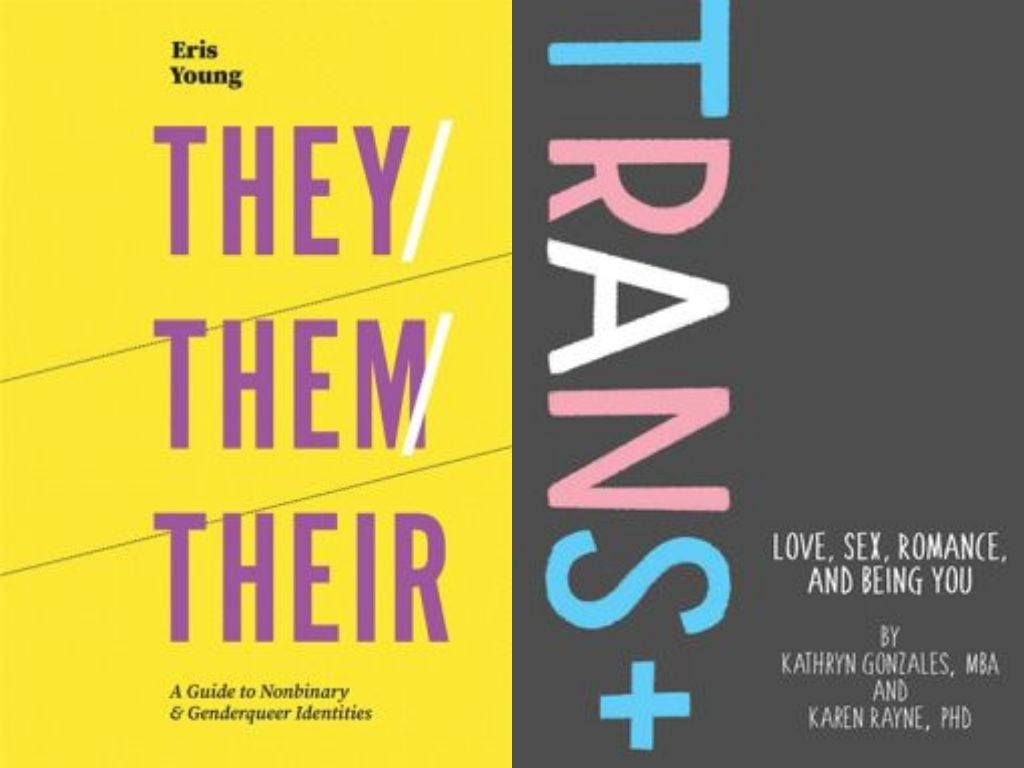 The cover of They/Them/There: A Guide to Nonbinary and Genderqueer Identities is on the left. The title is purple text on a vibrant yellow background. The cover of Trans+: Love, Sex, Romance, and Being You is on the right, the letters are in the colours of the trans pride flag on a charcoal background.
