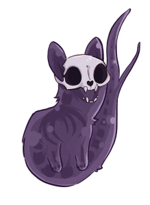 Image is of a spooky cat. The body of the cat is purple and has skeletal-style shadows over its body. Two front legs are visible, as well as a thick tail that branches into two ends. The top half of the cat's face is a skull.