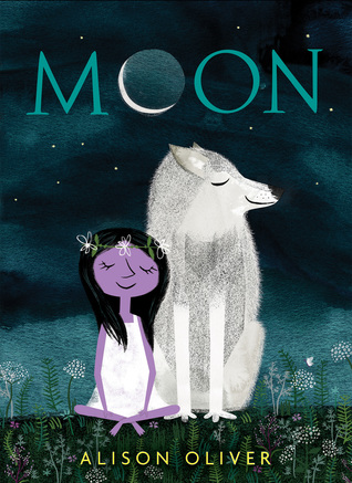 The cover of Moon, which shows a young feminine character with purple skin, wearing a white dress, sitting cross legged in the grass, wearing a flower crown. She sits beside a serene gray wolf. Both have their eyes closed.