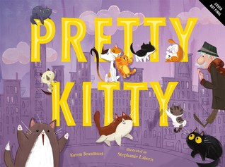 The cover of Pretty Kitty, which has a purple cityscape in the background and yellow text. An older man walks across the cover, and many cats are scattered across the letters.