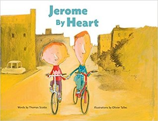 The cover of Jerome By Heart, which depicts two boys bicycling down the street side by side, holding hands.