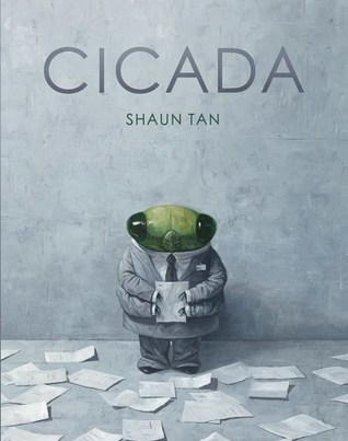 The cover of Cicada depicts a cicada in a business suit, holding a sheet of paper, standing on a gray backdrop, with similar sheets of paper all over the floor.