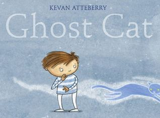 The cover of Ghost Cat. A boy on a cool-coloured background looks over his shoulder as a ghostly cat runs away.