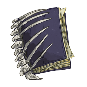 A purple book with a boney spine and ruffled pages.