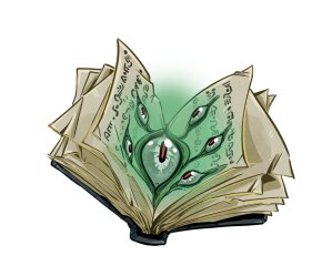 Sign off image - an open book with a bright green glowing eye in the centre and several small eyes around it.