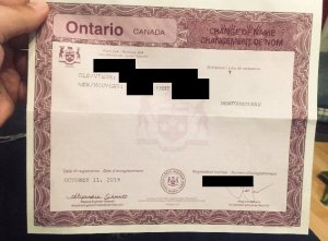 A name change certificate from the province of Ontario.
