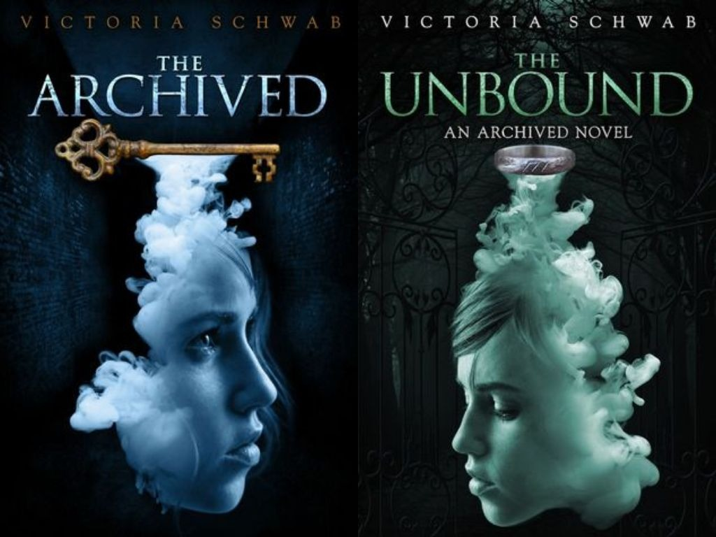The covers of The Archived and The Unbound, which depict a key and ring respectively, with smoke coming out of the bottom of them, and a feminine face visible in the smoke.