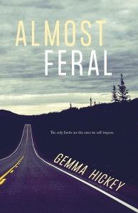 The cover of Almost Feral, by Gemma Hickey, which shows a tree-lined highway disappearing into the distance against a cloudy grey sky.