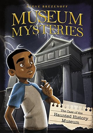 The cover of The Case of the Haunted Mystery Museum, featuring a child looking up at a large museum with lightning in the background.