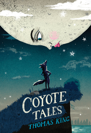 The cover of Coyote Tales, where a coyote looks up at the moon, who frowns back.