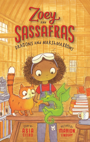 The cover of Zoey and Sassafras, which shows a young girl and a cat looking at a small dragon.